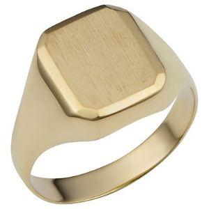 anillo para hombre, de oro de 14 k, con sello