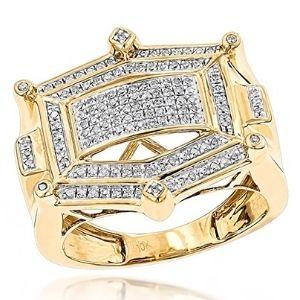 anillo para hombre, de oro de 10 k, con diamantes