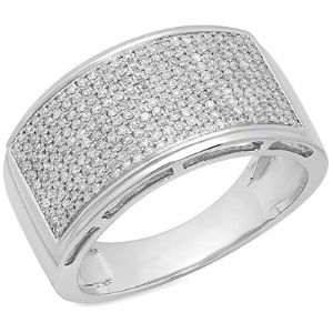 anillo para hombre, de oro blanco de 10 k, con diamantes