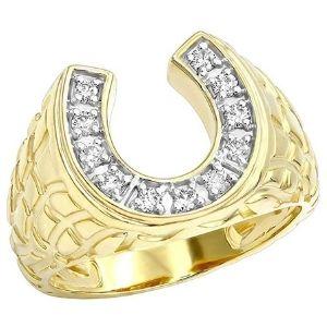 anillo para hombre, de herradura, de oro de 14 k, con diamantes