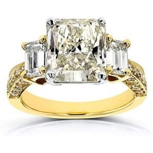 anillo para mujer, de oro macizo de 18 k, con 3 diamantes