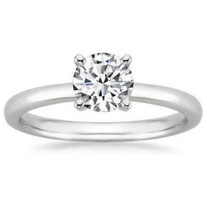 anillo de compromiso para mujer, de oro blanco de 14 k, con diamante