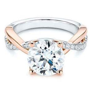 anillo de compromiso para mujer, de oro blanco y rosa, de 14 k, con diamantes