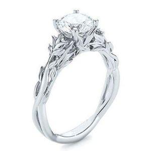 anillo de compromiso y aniversario para mujer, de oro blanco de 14 k, con diamante