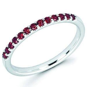 anillo apilable para mujer, de oro blanco de 14 k, con gemas de granate