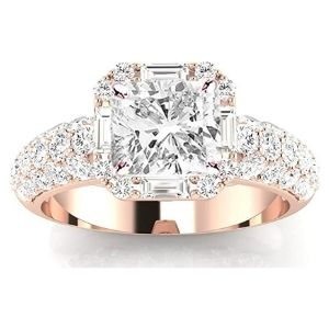 anillo tipo halo para mujer, de oro rosa de 14 k, con diamantes