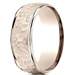 anillo martillado para mujer, de oro rosa de 14 k