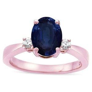 anillo de compromiso para mujer, de oro rosa, con zafiro