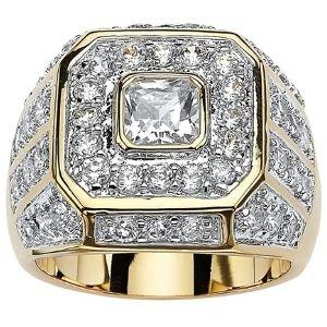 anillo para hombre, chapado en oro de 14 k, con circonita cubica
