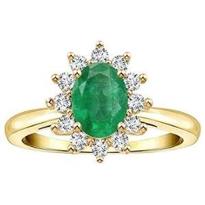 anillo halo para mujer, de oro amarillo de 14 k, con esmeralda