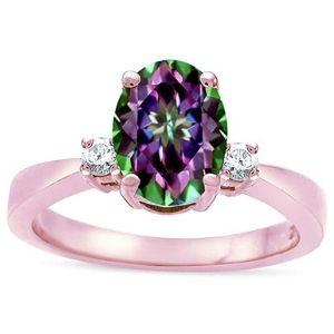 anillo de compromiso para mujer, de oro rosa de 14 k, con topacio