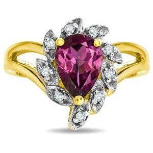 anillo para mujer, de oro amarillo de 14 k, con piedra de granate