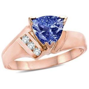 anillo para mujer, de oro rosa de 10 k, con piedra de tanzanita