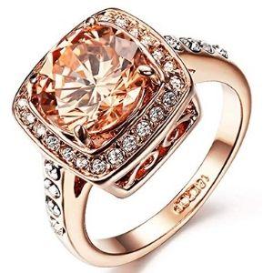 anillo para mujer, chapado en oro rosa de 18 k, con piedra de topacio amarillo