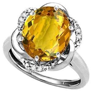 anillo para mujer, de oro blanco de 14 k, con piedra de citrino