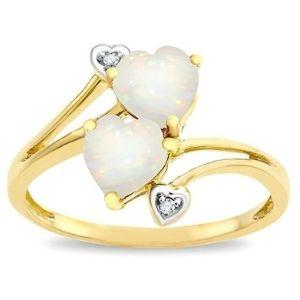 anillo de promesa para mujer, de oro amarillo de 14 k, con corazones de opalo