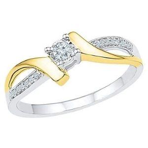 anillo de compromiso para mujer, de oro blanco y amarillo de 10 k, con diamantes
