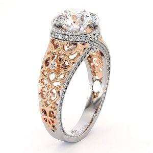 anillo de compromiso para mujer, de oro blanco y rosa de 14 k, con diamante
