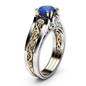 anillo para mujer, de oro blanco y amarillo de 14 k, con piedra de zafiro y diamantes