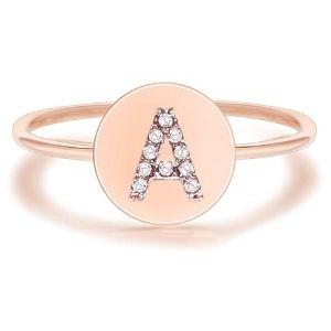 anillo para niña, chapado en oro rosa de 14 k, con circonitas