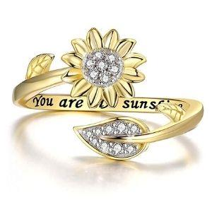 anillo grabado ajustable para niña, chapado en oro de 14 k, con girasol y circonitas