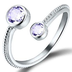 anillo ajustable para niña, chapado en oro de 18 k, con piedra natal