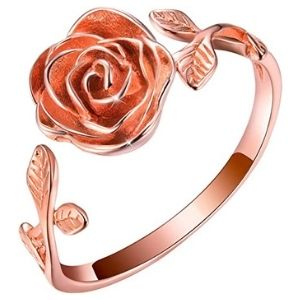 anillo ajustable para niña, chapado en oro rosa de 18 k, con flor