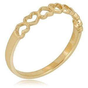 anillo apilable para niña, de oro amarillo de 10 k, con corazones