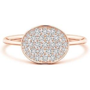 anillo de racimo para niña, de oro macizo rosa de 14 k, con piedra natal de abril