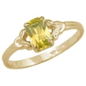 anillo para niña, de oro amarillo de 10 k, con piedra natal de noviembre