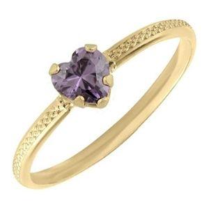 anillo para niña, de oro amarillo de 10 k, con piedra natal de febrero