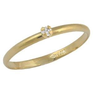 anillo solitario para niña, de oro de