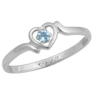anillo para ni帽a, de oro blanco de 14 k, con corazon y piedra natal de marzo
