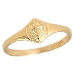 anillo para niña, de oro amarillo de 14 k, con cruz