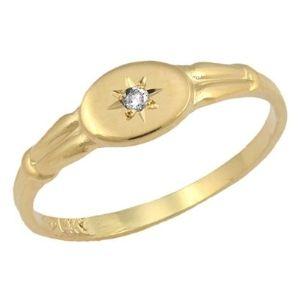anillo para ni帽as, de oro amarillo de 14 k, con diamante