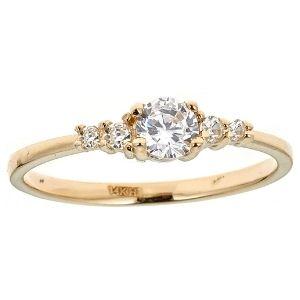 anillo para niña, de oro amarillo de 14 k, con circonitas