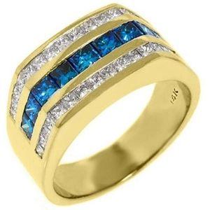 anillo para hombre, de oro de 14 k, con diamante azul