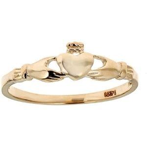 anillo para niña, de oro amarillo macizo de 14 k