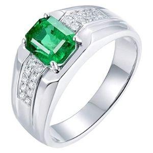 anillo de compromiso para hombre, de oro blanco de 14 k, con esmeralda