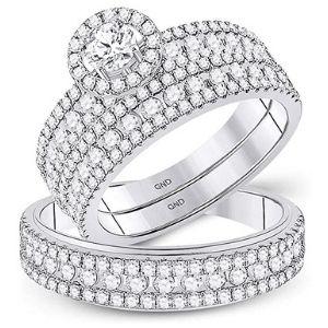 anillos de compromiso para pareja, de oro blanco solido de 14 k, con diamantes