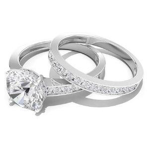 anillos de compromiso para pareja, de oro blanco de 14 k, con diamantes