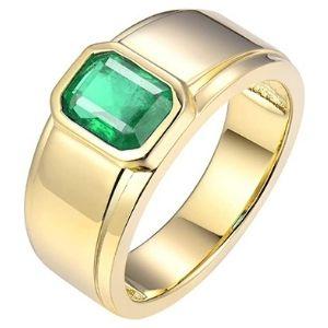 anillo de compromiso para hombre, de oro amarillo de 14 k, con esmeralda