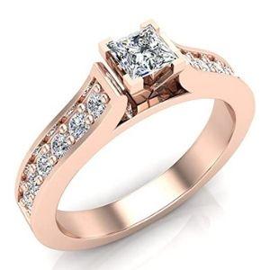 anillo de compromiso para mujer, de oro rosa de 14 k, con diamantes