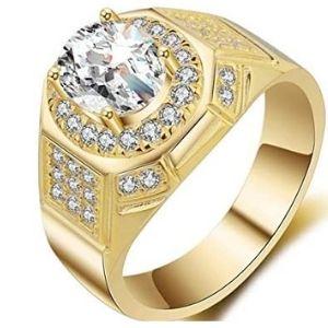 anillo de compromiso para hombre, de oro amarillo de 18 k, con circonitas