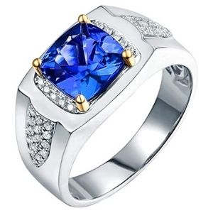 anillo de compromiso para hombre, de oro blanco de 14 k, con zafiro