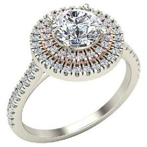 anillo de compromiso doble halo para mujer, de oro blanco de 14 k, con diamantes