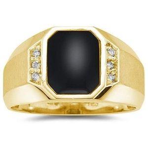 anillo para hombre de oro de 10 k, con onix y diamante