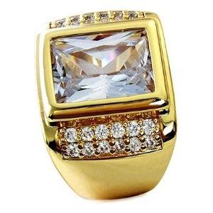 anillo para hombre, bañado en oro de 18 k, con zafiro