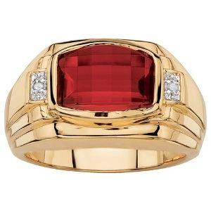 anillo para hombre de oro de 18 k, con rubí rojo