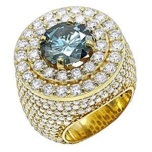 anillo de oro para hombre, marca Luxurman, de 14 K, con diamantes blancos y azules